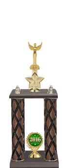 "22""-26"" 4 Poster Cup Wood Column Trophies"