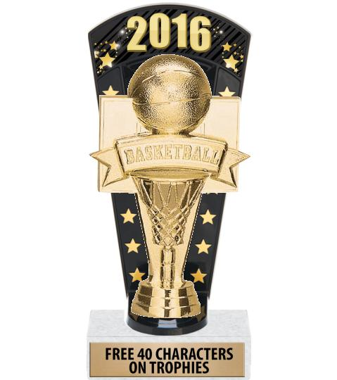"""7 3/4"""" Basketball Banner Backdrop Trophies"""