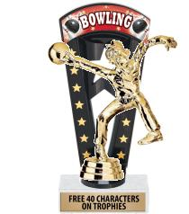 "7 3/4"" Bowling Banner Backdrop Trophies"