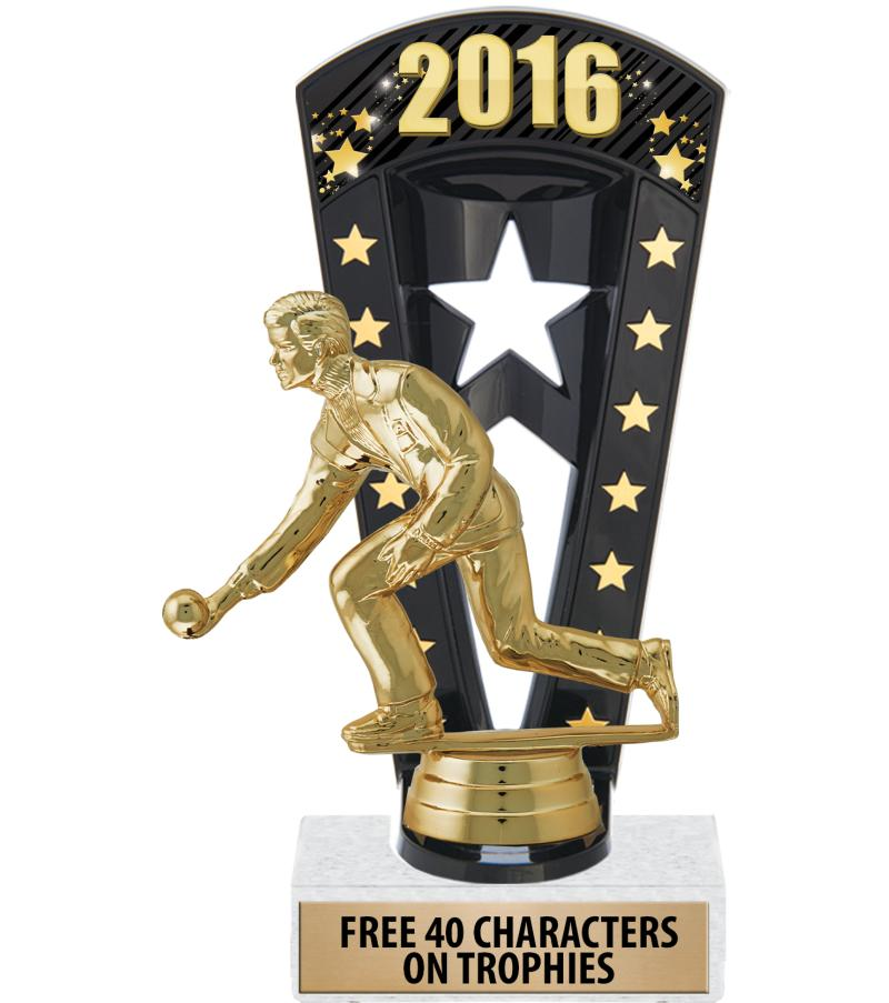 """7 3/4"""" Bowling Banner Backdrop Trophies"""