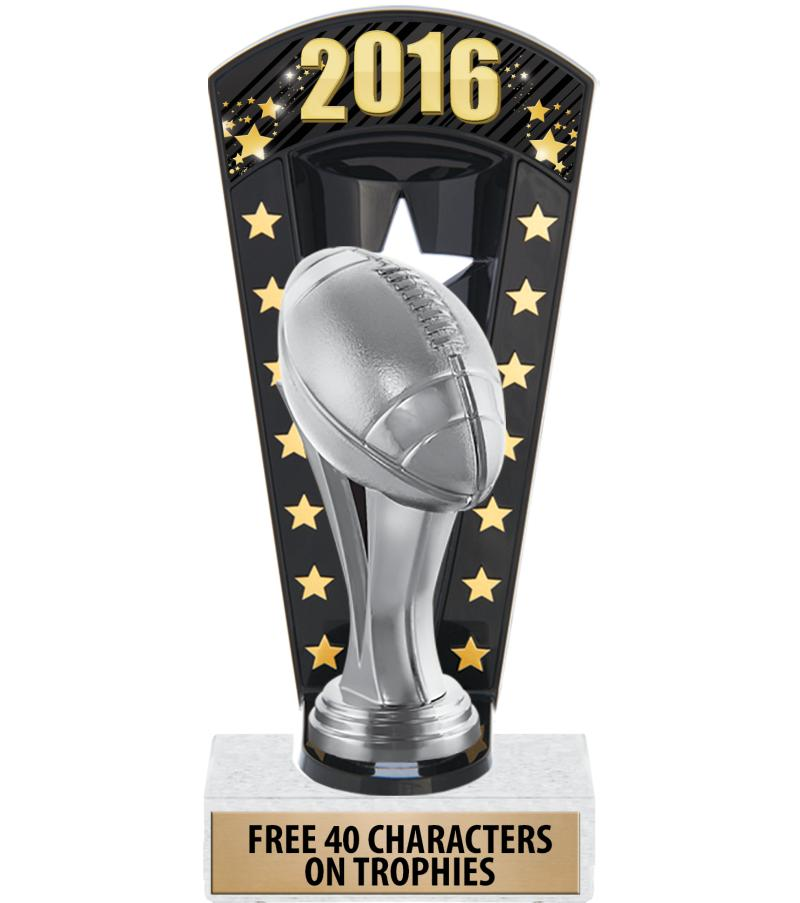 "7 3/4"" Football Banner Backdrop Trophies"