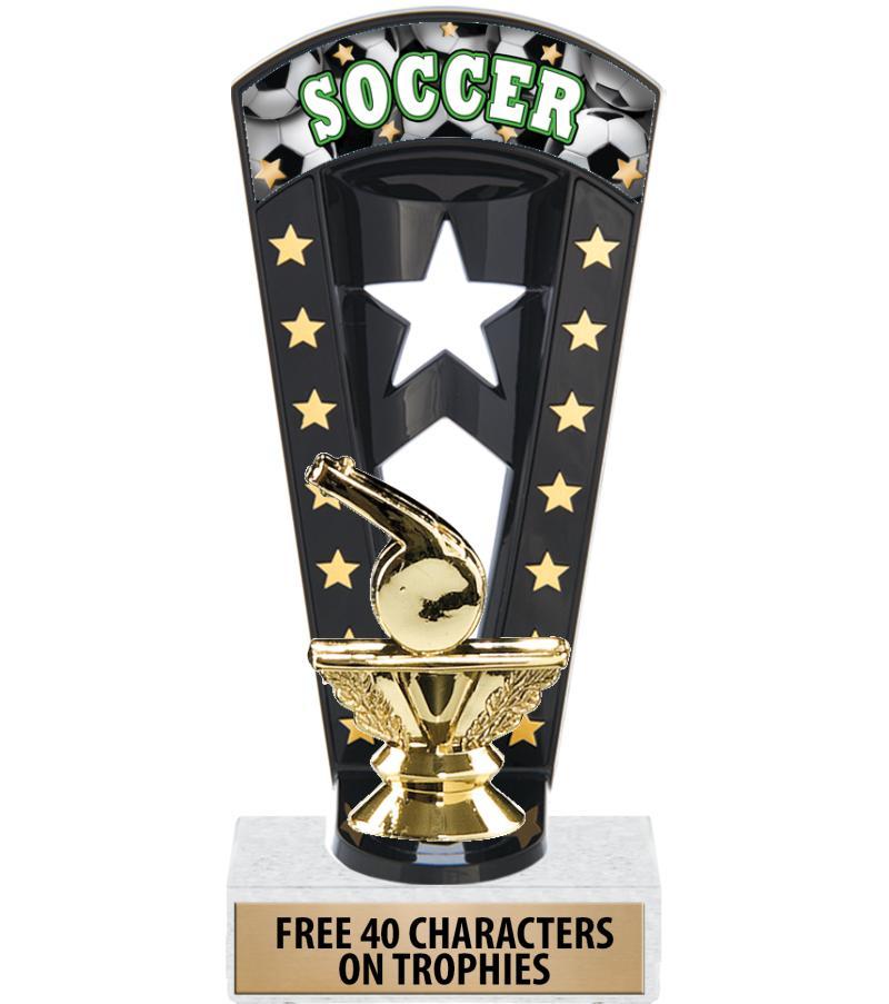 """7 3/4"""" Soccer Banner Backdrop Trophies"""