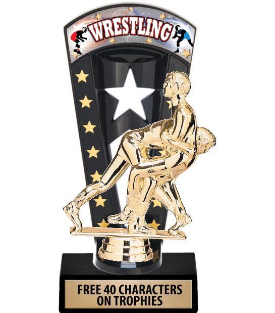 """7 3/4"""" Wrestling Banner Backdrop Trophies"""