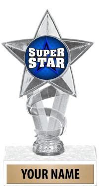 """7"""" Gold, Silver & Clear Star Insert Trophies"""