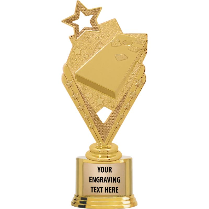 """7"""" TROPHY ON ROUND GOLD BASE"""