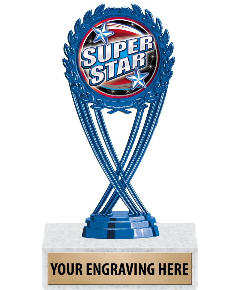 """6 1/4"""" Blue and Pink Olympia Insert Trophies"""