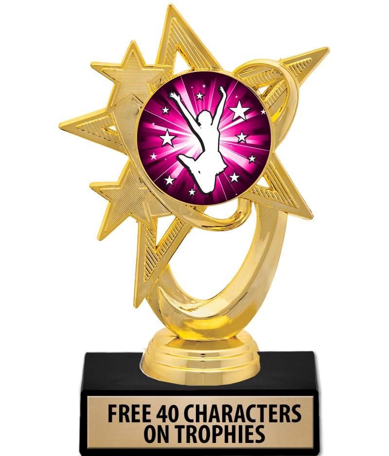 """6"""" Gold, Silver & Pink Astral Insert Trophies"""