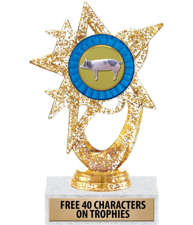 "6""ASTRAL GLITTER GOLD TROPHY"