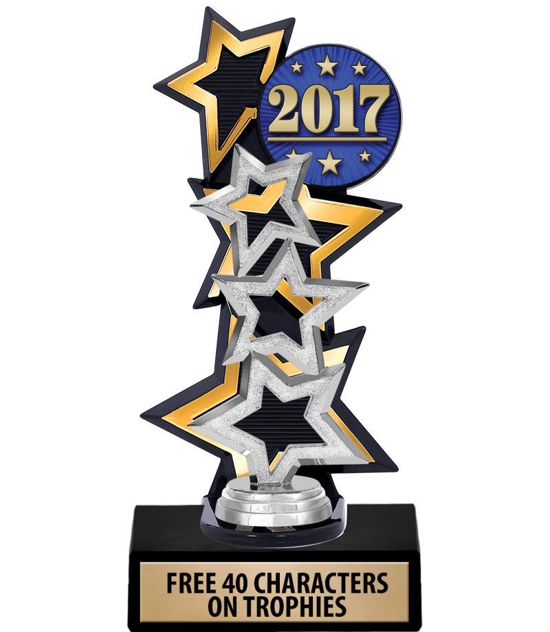 Three Star Backdrop Gold Insert Trophy