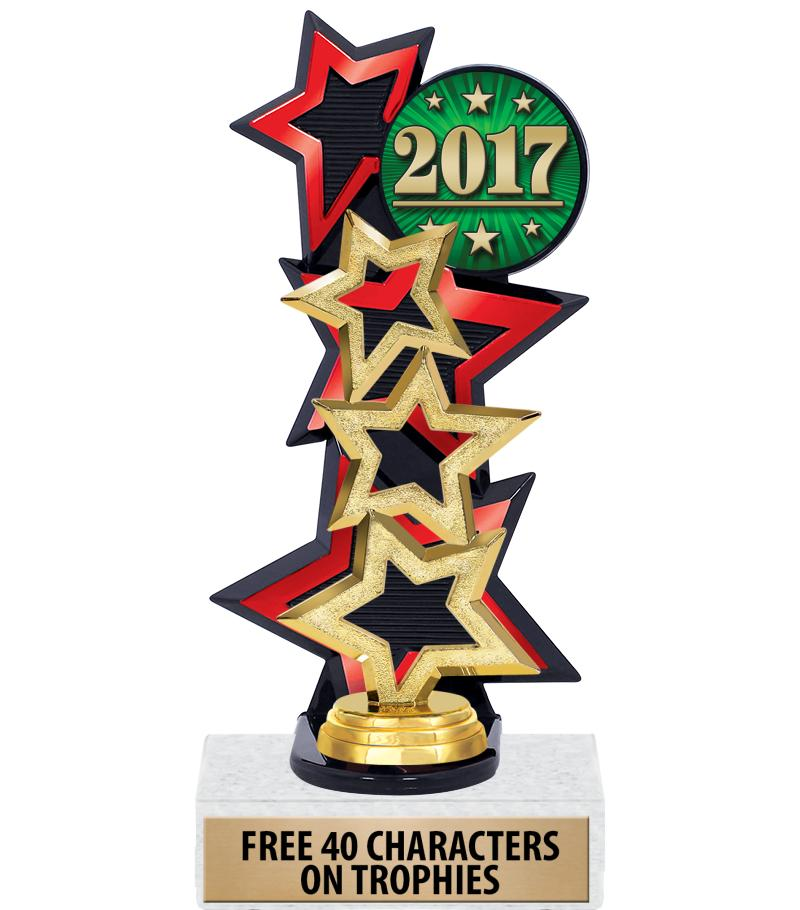 Three Star Backdrop Red Insert Trophy