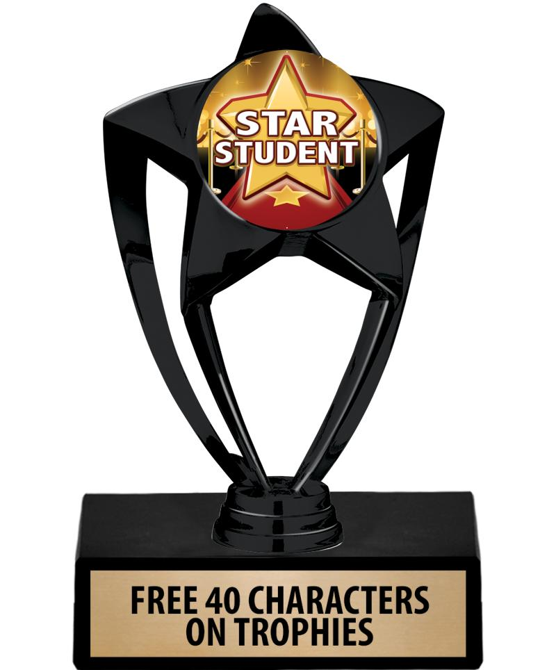 "6"" BLACK INSERT STAR TROPHY"