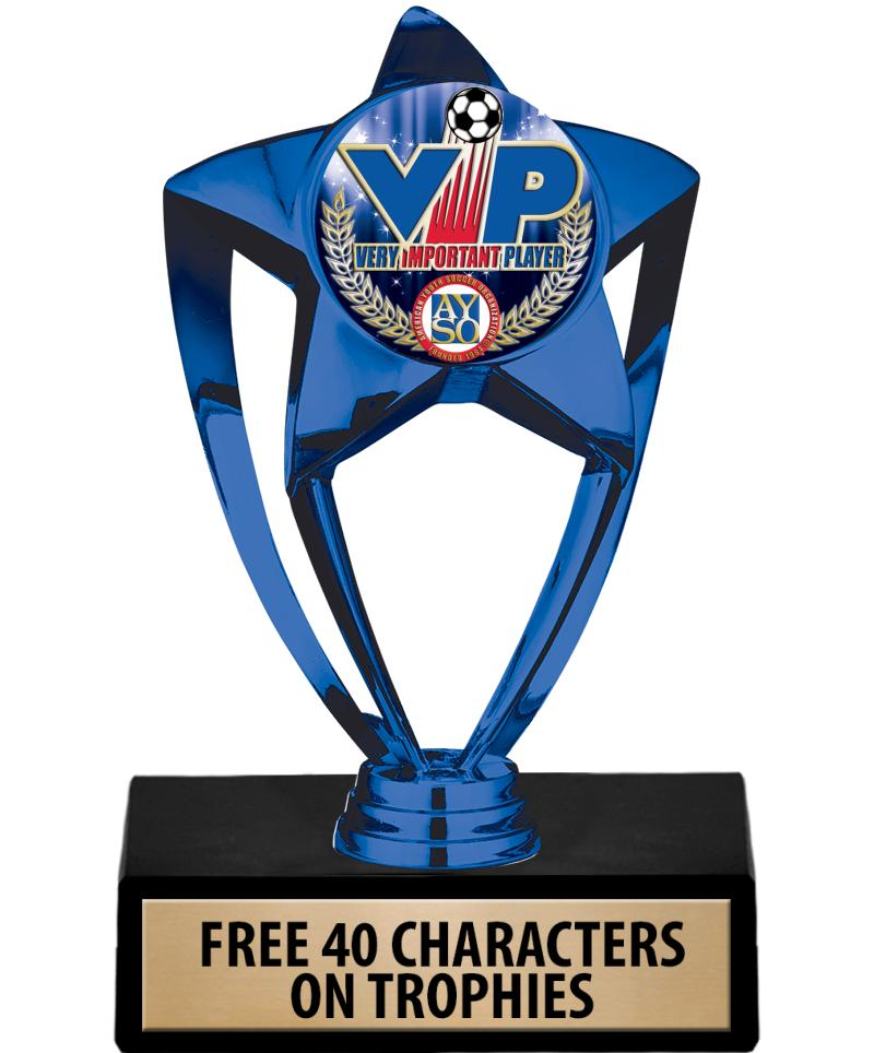 "6"" BLUE SHINY STAR INS TROPHY"