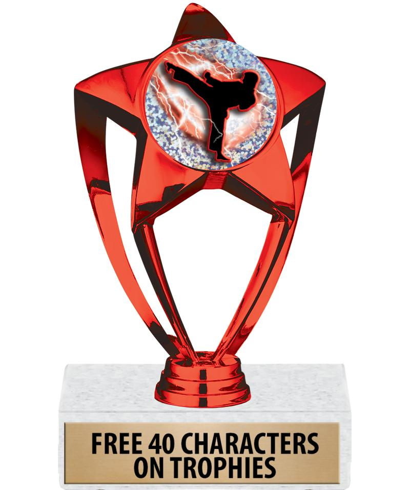 """6"""" RED SHINY STAR INS TROPHY"""