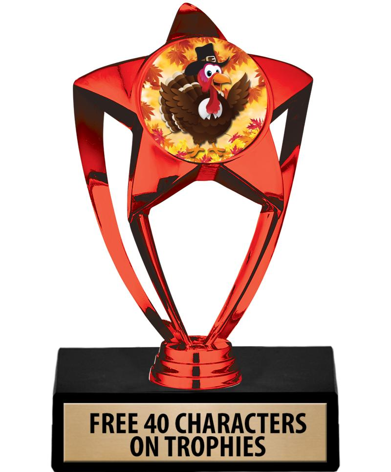 "6"" RED SHINY STAR INS TROPHY"