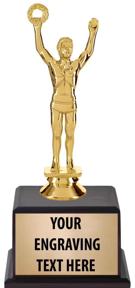 "7 1/2"" Trophy on Wood Base"