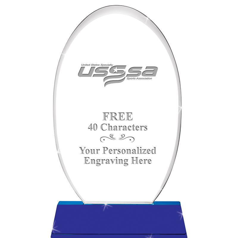 USSSA Soccer Sapphire Ellipse Crystal
