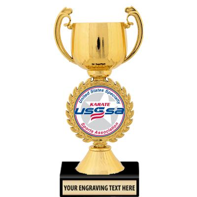 """USSSA 7 1/4"""" Gold, Silver, And Bronze Chaplet Cup Trophies"""