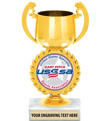 "USSSA 6 1/4"" Gold Chaplet Cup Trophy"