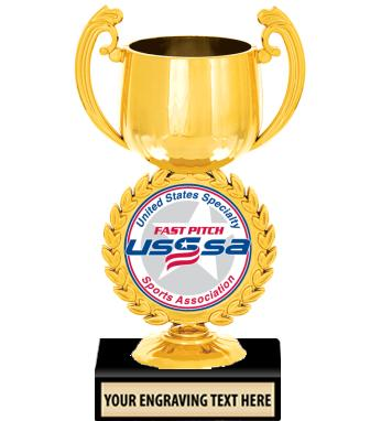 """USSSA 6 1/4"""" Gold Chaplet Cup Trophy"""