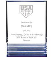 USA Softball Blue Rockwell Acrylic Awards