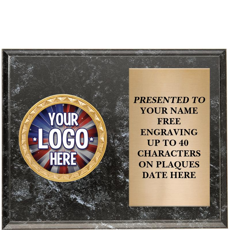 Black Marbleized Horizontal Insert Plaque