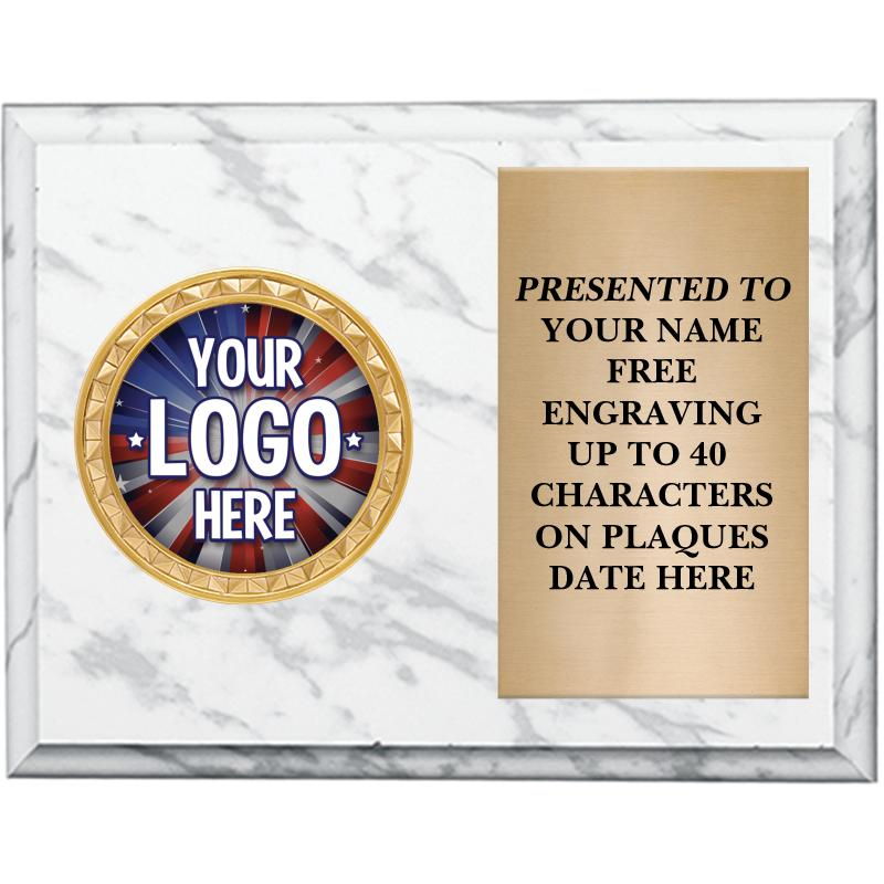 White Marbleized Horizontal Insert Plaque