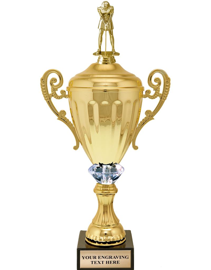 Gold Metal Accolade With Figure Crystalline Cup Trophies