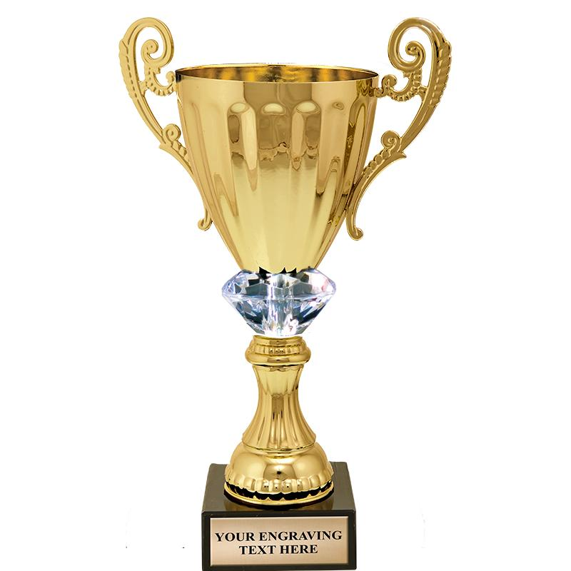 Gold Metal Accolade Crystalline Cup Trophies