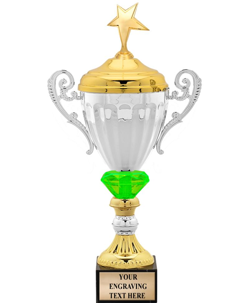 Silver Metal Accolade With Figure Crystalline Cup Trophies