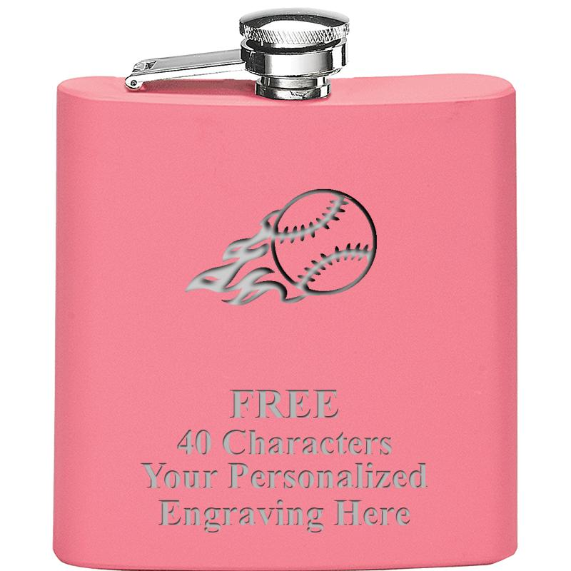 6OZ PINK STAINLESS STEEL FLASK