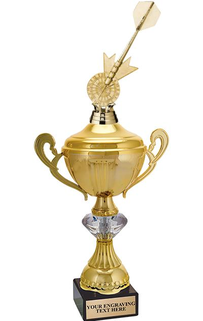 """15"""" GOLD CRYSTALLINE CUP W/FIG"""