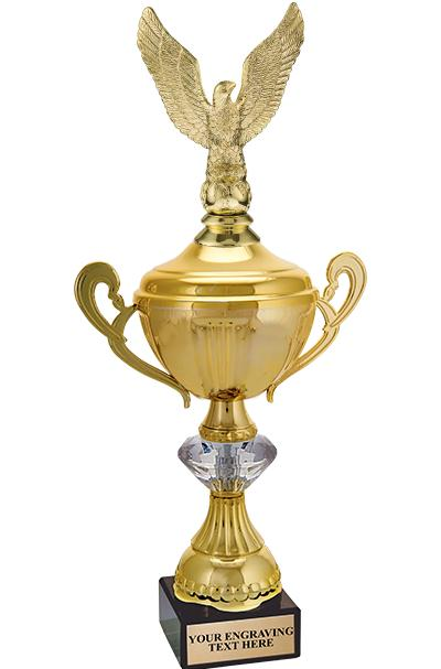 "15"" GOLD CRYSTALLINE CUP W/FIG"