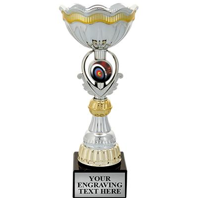 """9 1/2"""" GOLD INSERT CUP TROPHY"""