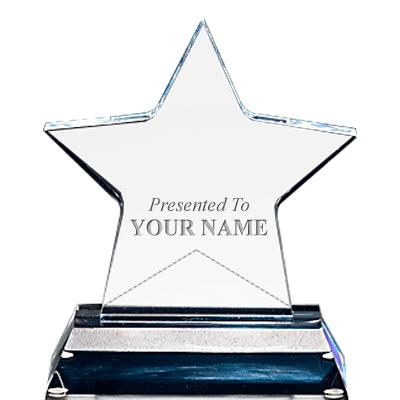 """5.75"""" Clear Standing Star W/ Acrylic Base"""