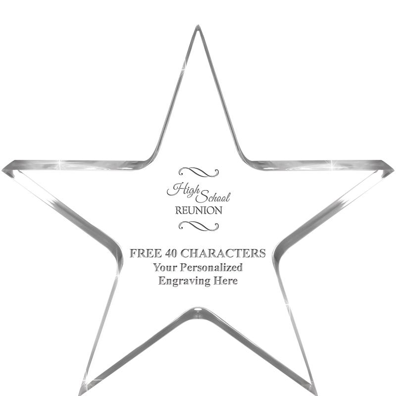 "5"" CLEAR STAR ACRYLIC 1"" THICK"