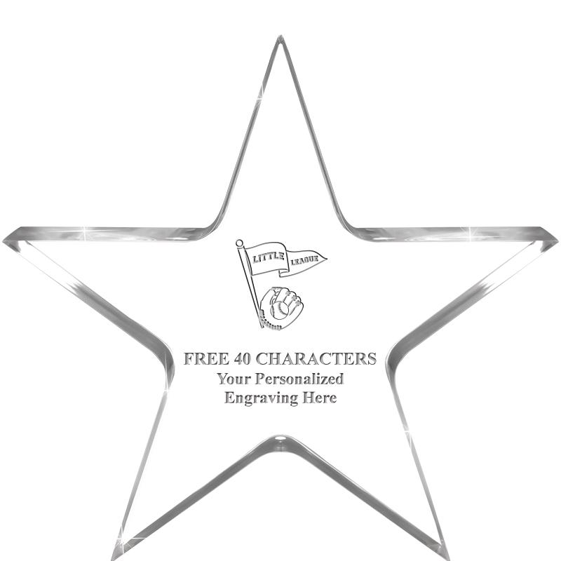 """5"""" CLEAR STAR ACRYLIC 1"""" THICK"""