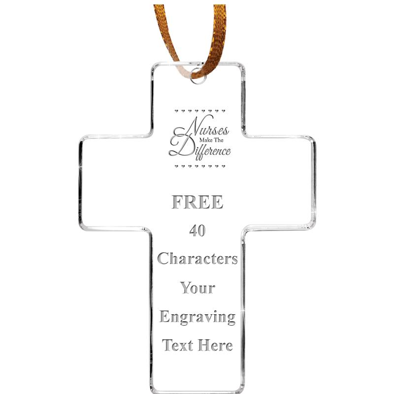 """3.5"""" CROSS ACRYLIC ETCHED ORN"""