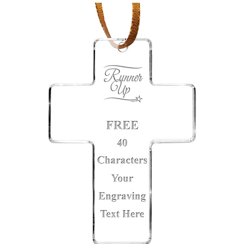 "3.5"" CROSS ACRYLIC ETCHED ORN"