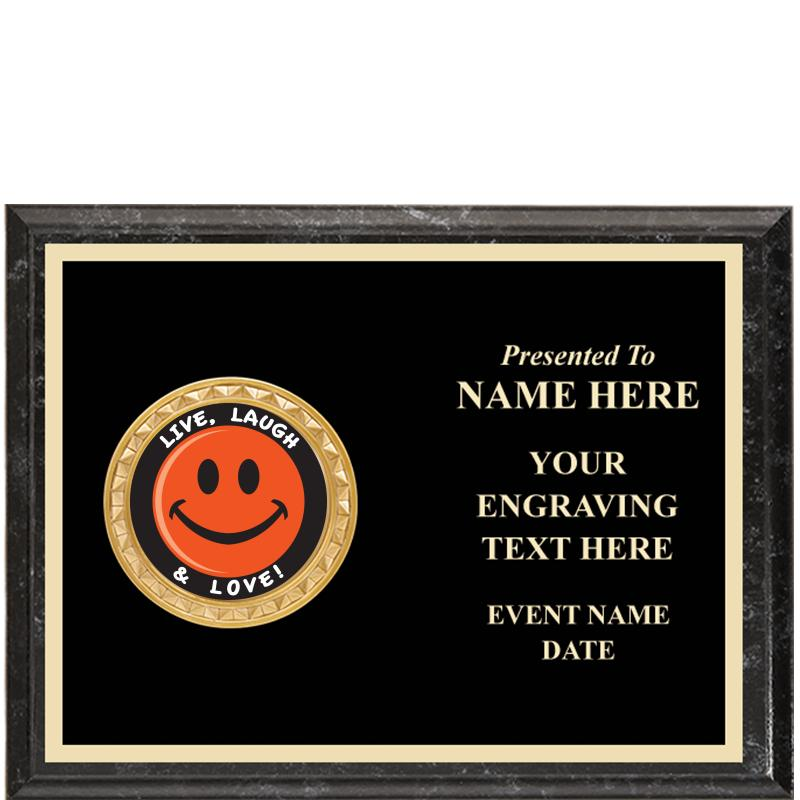 Executive Black Marbleized Horizontal Insert Plaque