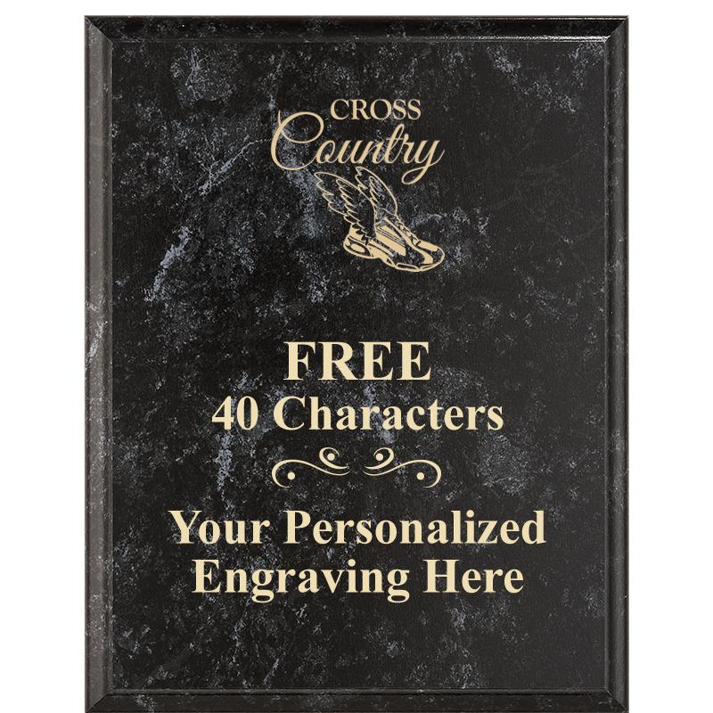 Black Marbleized Plaques With Gold Text