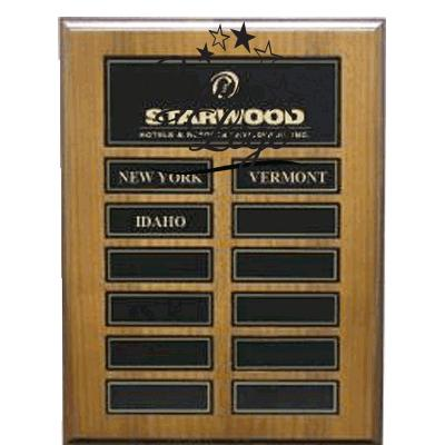 American Walnut Veneer Perpetual Plaque With Black Plates