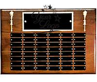 Walnut Perpetual Plaque With Torch Trims & Metal Plates