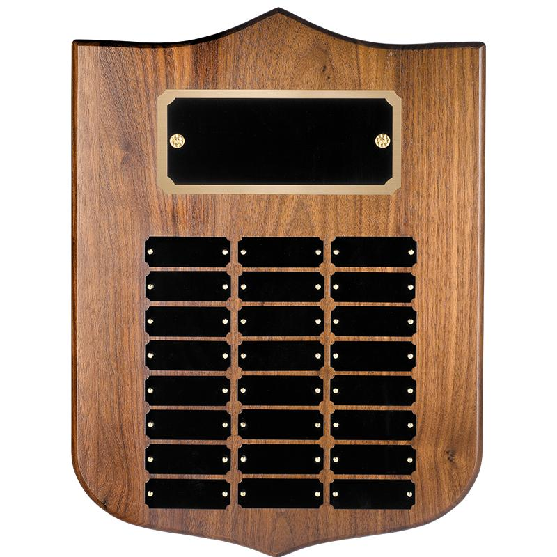 Genuine Walnut Shield Perpetual Plaque With Metal Plates