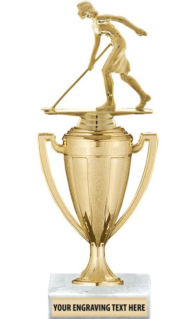 "10""GOLD TROPHY WITH FIG CUP"