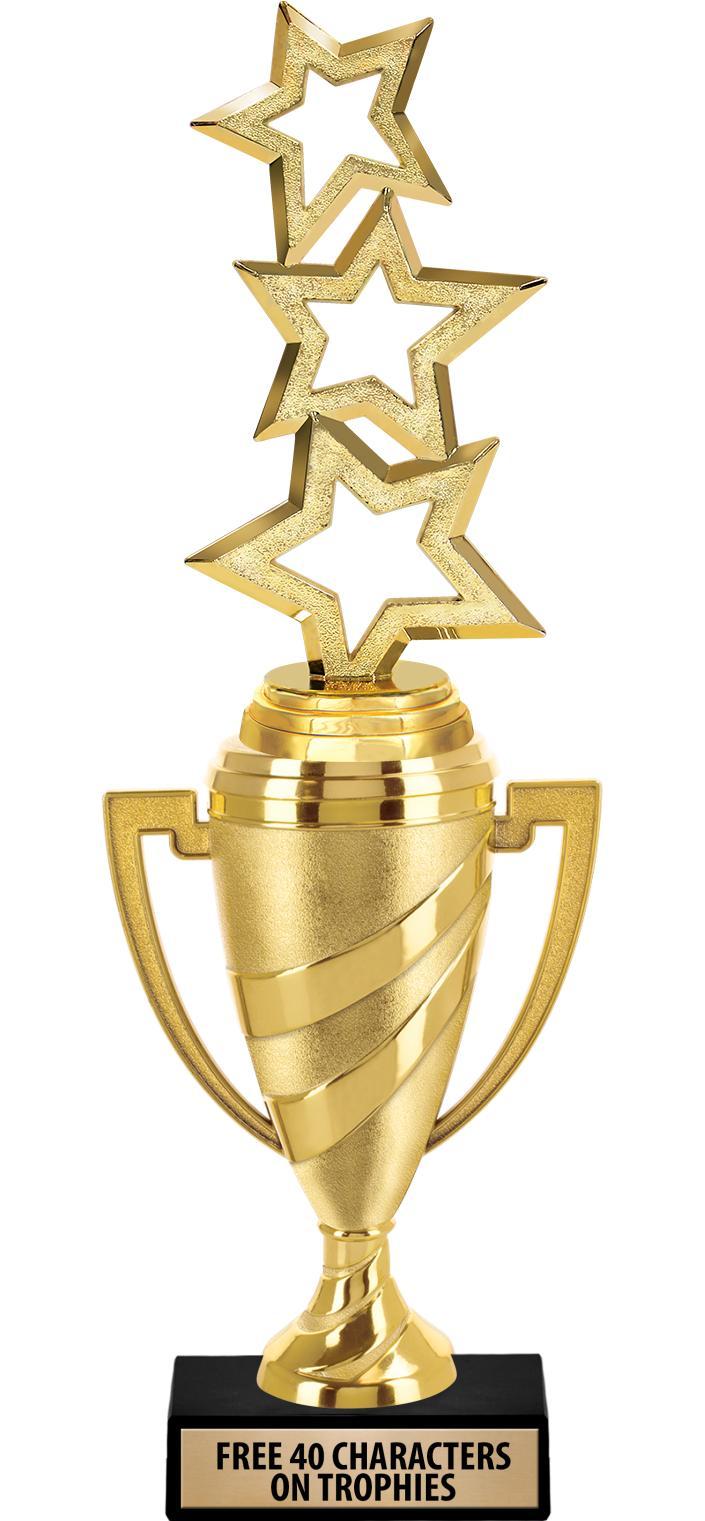 "12""GOLD TROPHY W FIG SWIRL CUP"