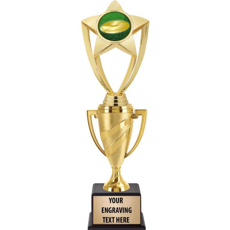 "12""SWIRL CUP WOOD BS W FIG TRP"