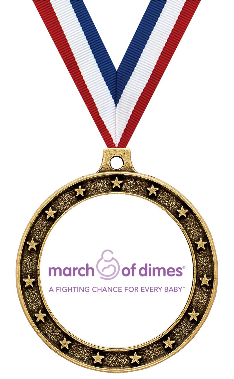 """MARCH OF DIMES 2.5""""STAR GD MDL"""