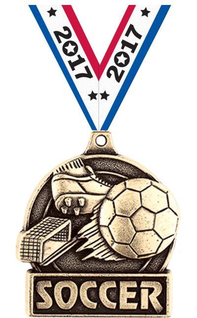 "1 3/4"" 3D Diecast Soccer Medals"