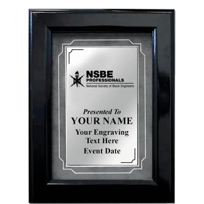 Black Gloss Frame Plaque With Grey Matting