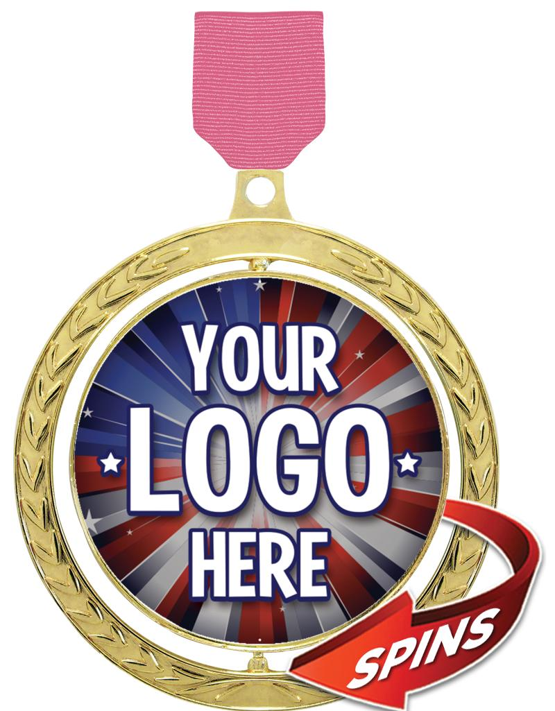 "2 1/2"" Spin Wreath Medal"